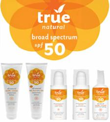 New for 2012: True Natural's Broad Spectrum SPF50 Sunscreens