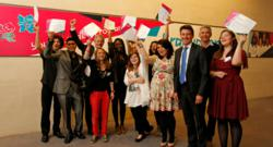 Seb Coe and Jonathan Edwards celebrate London 2012 Young Leaders success