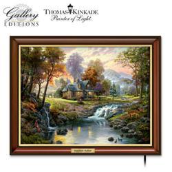 "Thomas Kinkade ""Mountain Retreat"" Illuminated Canvas"
