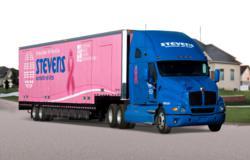 Stevens pink moving truck