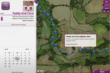 A line of directional location icons depicting a route taken in a recent charity event