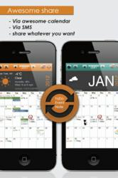Calendar, To-do, note taking, weather forecast, send email, sticker, passcode lock, sharing, 35 country holidays