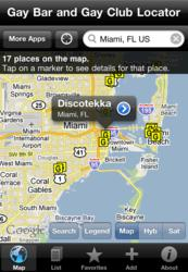A screenshot of the app's map view zoomed in to Miami, FL.