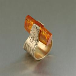 Bronze Bark Ring with Amber by San Francisco jewelry designer John S Brana