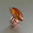 Copper Bark Handmade Ring with Amber Gemstone