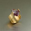 Contemporary Bronze Cocktail Ring with Amethyst