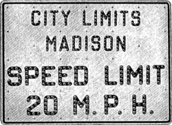 Speed Limit Sign from 1925
