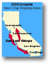 Docucopies.com's 1-day shipping zone now includes most of California.
