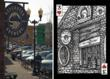 Artist Aaron Trotter sketches the outside of Deschutes Brewery (left). The playing card created from Aaron's sketch (right).
