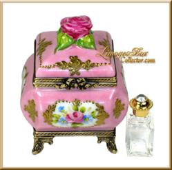 Hand-Painted Perfume Chest with Crystal Bottle www.LimogesBoxCollector.com