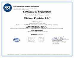 Midwest Precision has earned AS9100 Revision C certification for its aerospace quality management system photo