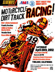 Slideways! Motorcycle Flat Track Race at Stanislaus County Fairgrounds April 28, 2012.