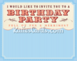 New 'Birthday Invite Blue' birthday invitation ecard from www.katiescards.com