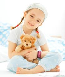 Little Girl Wearing Fashion Alert Kids Dark Pink Adjustable Medical ID Wristband