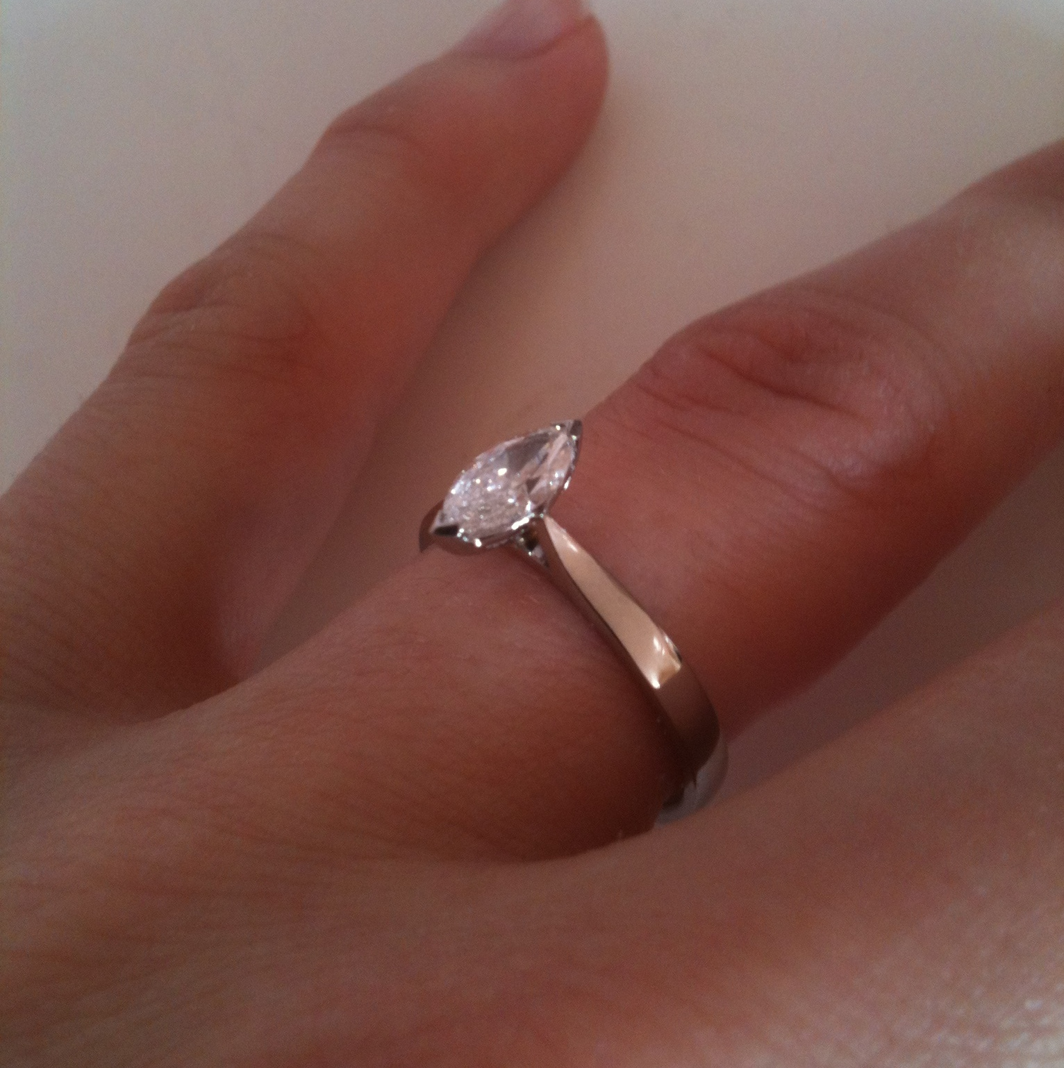 Available in PalladiumMarquise Shaped Diamond Engagement Ring in Palladium  ...