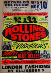 Rolling Stones 1965 Reynolds ColiseumConcert Poster in Raleigh, North Carolina