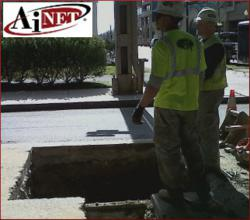 Manhole excavation. AiNET dark fiber network in Washington, DC