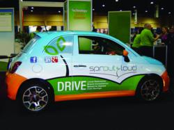 A Fiat 500 with a full coverage SproutLoud vehicle wrap