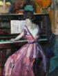 "Jane Peterson American (1876-1965) ""Woman at the Piano"""