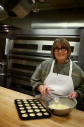 Becky Satterfield prepares a batch of cornbread muffins.
