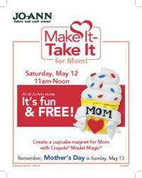 Jo-Ann Fabric and Craft Stores will host a free Make It-Take It event for kids just in time for Mother's Day.