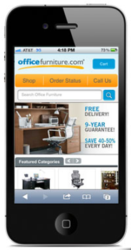 View of OfficeFurniture.com on a smart phone.