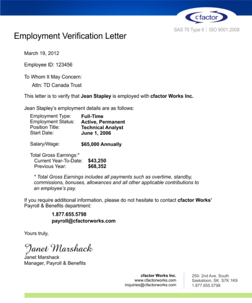 cfactor Employment Verification Service Driving New Efficiencies – Sample of Proof of Employment