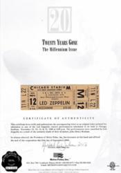 Robert Plant, Hindenburg Certificate, Led Zeppelin, Memorabilia