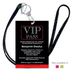 Turn your party into a real production with an invitation designed to look like a VIP pass! Cards measure 3.5x5 and come with black jeweled lanyards and 5x7 envelopes.