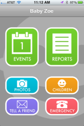 baby zoe home screen with health events and pediatric reports