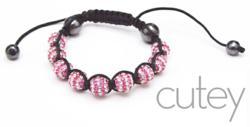 Pink and White Shamballa Bracelet