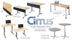Motorized height adjustable, ratchet, spring pin and floating pedestal Cirrus computer classroom tables by SMARTdesks