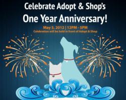 Adopt & Shop 1 year anniversary flyer