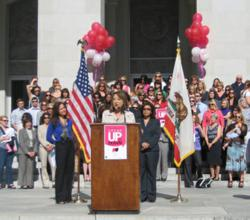 At the California State Capitol, Assemblymember Mary Hayashi talks about Perinatal and Maternal Mental Health Awareness Day
