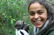 WCC Curator Rebecca Bose with a newborn wolf pup