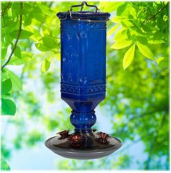 Perky-Pet Cobalt Blue Antique Bottle Hummingbird Feeder