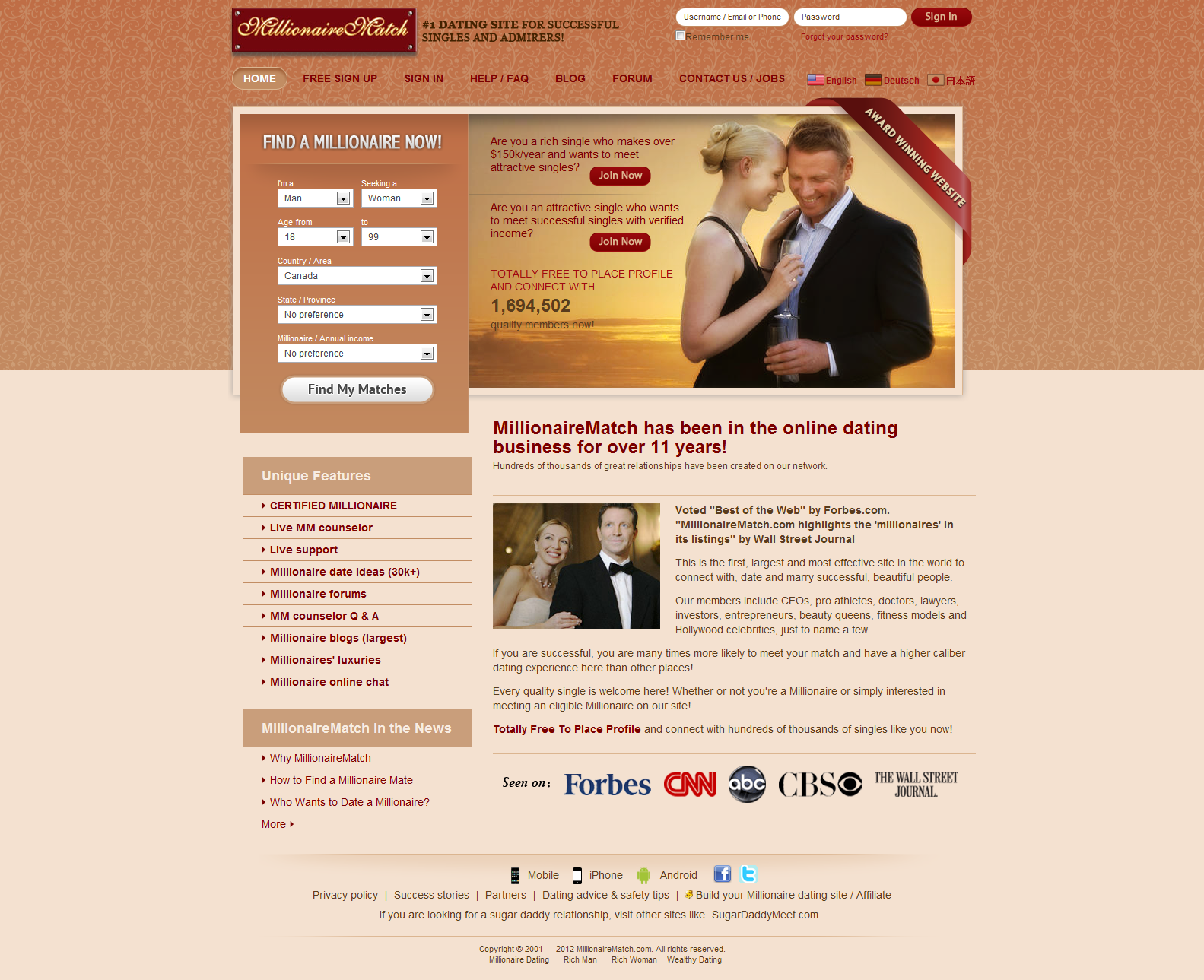 Free online millionaire dating sites