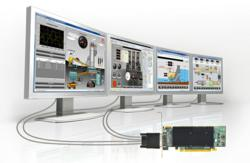 Matrox M-Series graphics card drives Progea Movicon SCADA solution across four displays.