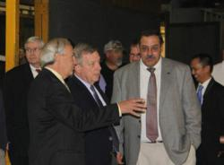 Senator Dick Durbin (center) tours Stertil ALM with Dr. Jean DellAmore, President, Stertil-Koni USA and Allan Pavlick, Vice President, Streator ALM