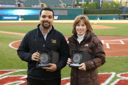 Jose Vasquez receives 2011 MVDBP Award at the Cleveland Indians Game