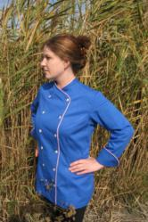Chef Coat, Crooked Brook Style BSW101, shown in Blue, 100% Organic Cotton Twill fabric, with a Left shoulder sleeve tailored welt pocket, Pink Troca buttons, Pink Sham piping; collar, cuffs and both fronts.