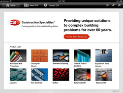 Construction Specialties Inc. Launches iPad App