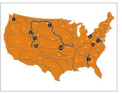 Map of America's Most Endangered Rivers of 2012
