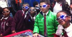 Flashing eyeglasses helped demonstrate photonics at the SPIE booth.
