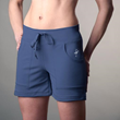 Blue athletic shorts made partly from bamboo.