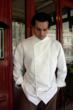 Chef Coat, Crooked Brook Style M101, shown in white, 100% cotton gabardine with faux Mother-of-Pearl buttons.