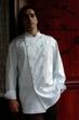 Chef Coat, Crooked Brook Style M100, shown in white, 100% cotton gabardine with hand tied knot buttons
