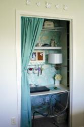 Pictured is a closet that's already been converted into a stylish home office.
