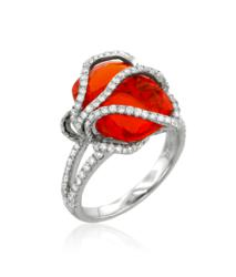 Fire opal and diamond cocktail ring from Yael Designs Lyra Collection