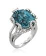 Blue zircon and diamond cocktail ring by Yael Designs